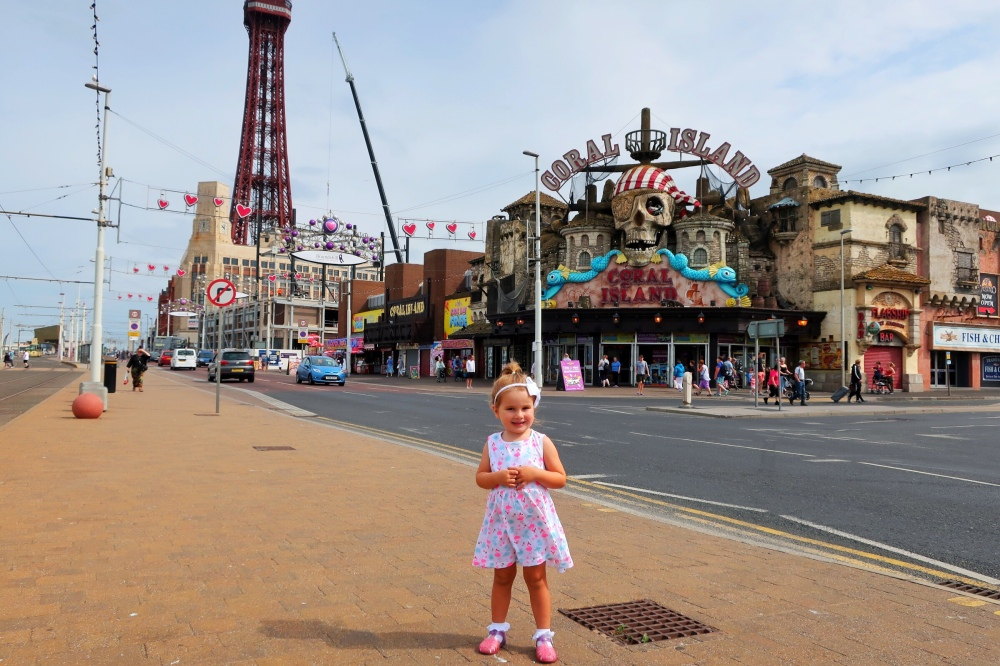 Little girl outside Coral Island Blackpool