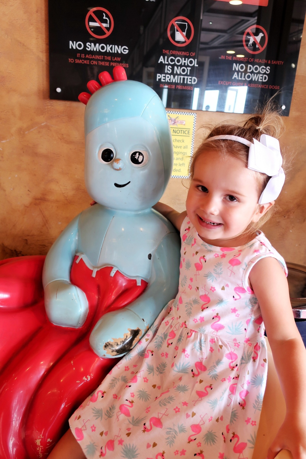 Girl with Iggle Piggle at Coral Island Blackpool